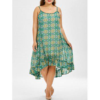 Chiffon Printed Plus Size Midi Shift Dress