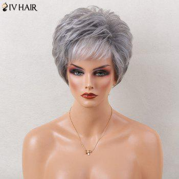 Siv Hair Short Layered Slightly Curled Side Bang Colormix Human Hair Wig
