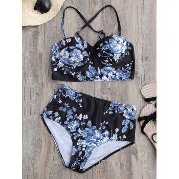 High Waisted Floral Underwire Bikini