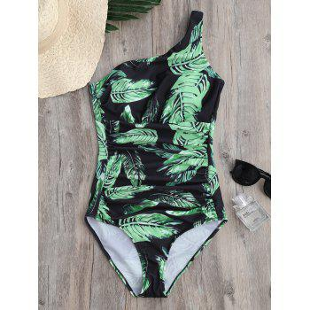 One Shoulder Leaves Print Ruched Swimwear