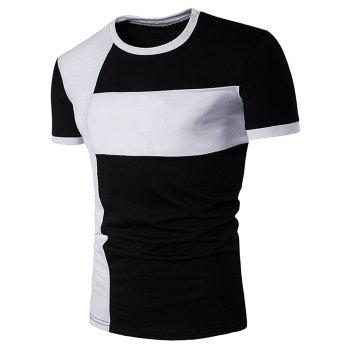 Short Sleeve Color Block Cross Panel T-Shirt
