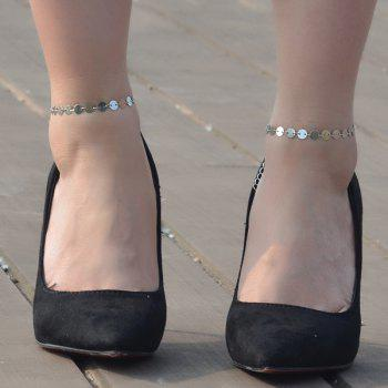 Adjustable Sparkly Sequin Anklet -  SILVER