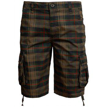 Zip Fly Pockets Checked Shorts