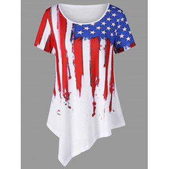 American Flag Painted Asymmetric Patriotic T-Shirt