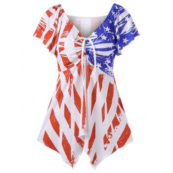 V Neck Patriotic American Flag Swing T-Shirt