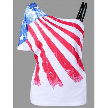 Skew Collar American Flag T-Shirt