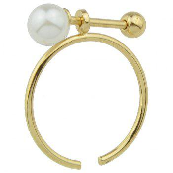 Artificial Pearl Bead Adjustable Alloy Ring - GOLDEN