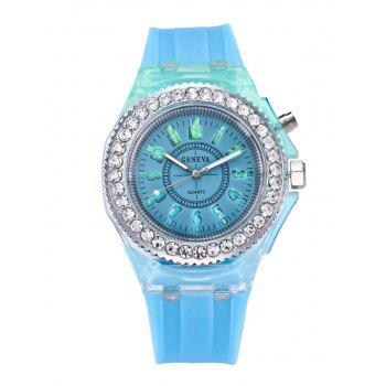 Rhinestone Number Noctilucence Quartz Watch
