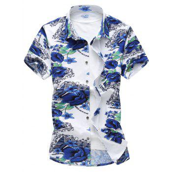 Stretch Flower Print Casual Shirt
