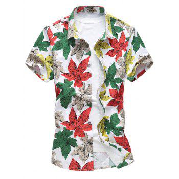 Stretch Leaves Print Short Sleeve Shirt