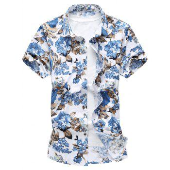 Button Up Stretch Flower Shirt