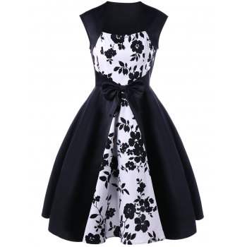 Floral Bowknot Embellished Tea Length 50s Swing Dress