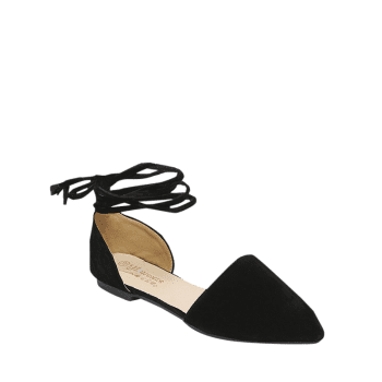 Pointed Toe Flock Tie Flat Shoes BLACK