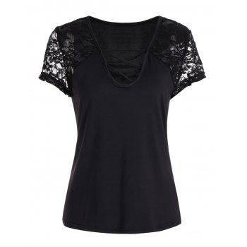 Lace Insert Criss Cross Tee