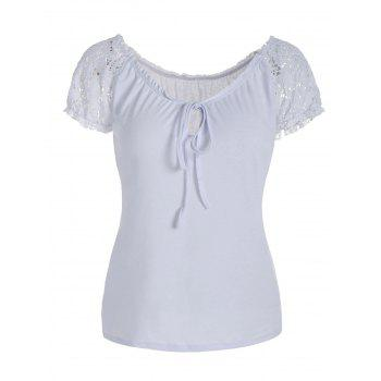 Scoop Neck Self-Tie Lace Panel T-Shirt