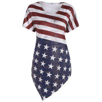 Asymmetric American Flag Print Tunic Top