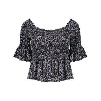 Smocked Ruffle Off The Shoulder Blouse
