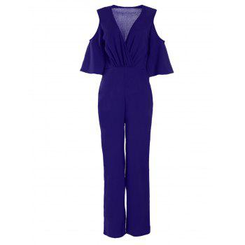 Plunging Neck Cold Shoulder Jumpsuit