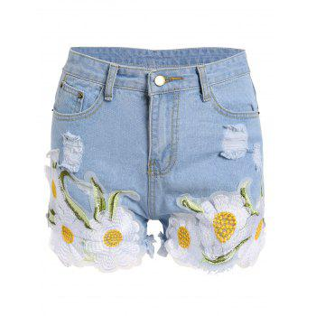 Frayed Floral Embroidered Denim Shorts