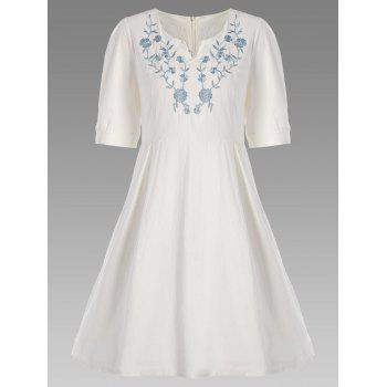 Split Neck A Line Floral Embroidered Dress