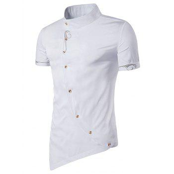 Short Sleeve Mandarin Collar Embroidered Novelty Shirt