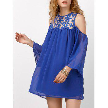Openwork Lace Cold Shoulder Mini Chiffon Dress
