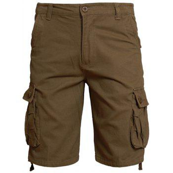 Zipper Fly Shorts with Flap Pockets