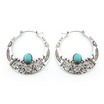 Turquoise Hollowed Big Hoop Earrings