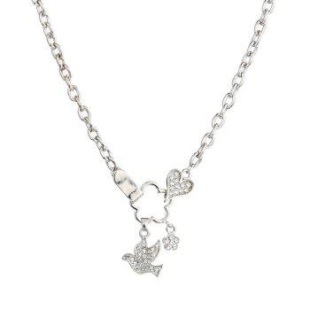 Rhinestone Pigeon Link Chain Necklace