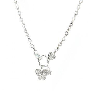 Butterfly Floral Zircon Pendant Necklace