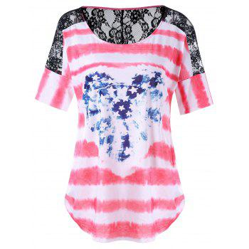 Plus Size Lace Insert American Flag T-Shirt
