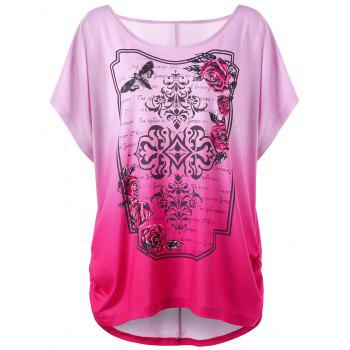 Rose Print Plus Size Ombre Tunic Top