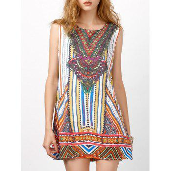 Tribal Printed Sleeveless Shift Dress