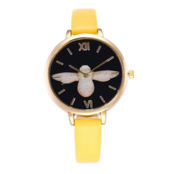 Roman Numeral Faux Leather Bird Pattern Quartz Watch