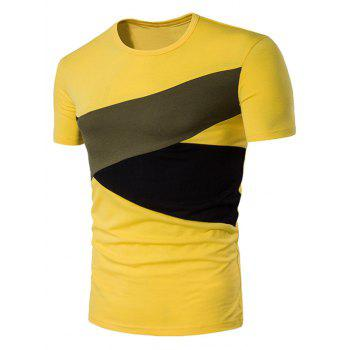 Irregular Color Block Panel Short Sleeve T-Shirt