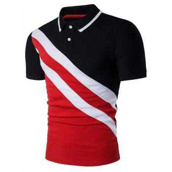 Oblique Stripe Panel Color Block Polo T-Shirt