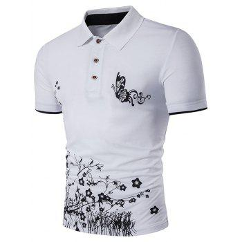 Butterfly and Floral Print Polo T-Shirt