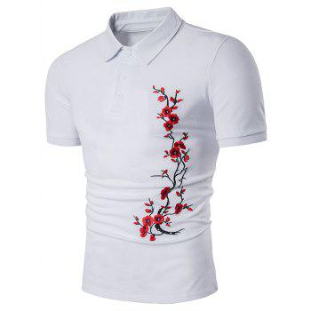 Florals Embroidery Short Sleeve Polo T-Shirt