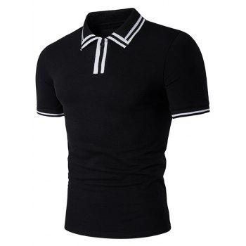 Varsity Stripe Panel Short Sleeve Polo T-Shirt