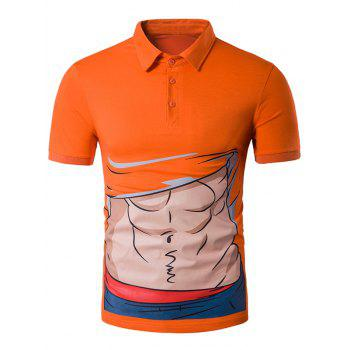 Abdominal Muscle Cartoon Print Novelty Polo T-Shirt