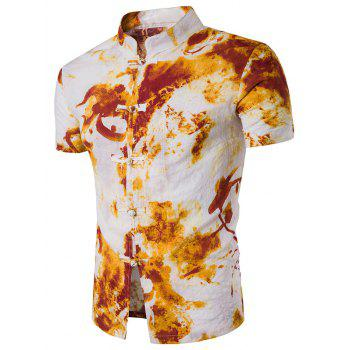 Mandarin Collar Tie Dye Print Linen Blends Shirt
