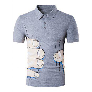 Short Sleeve Cartoon Fingers Print Novelty Polo T-Shirt
