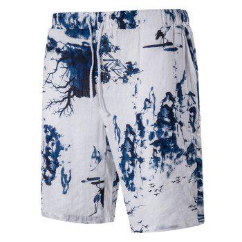 Blends Landscape Print Drawstring Linen Board Shorts