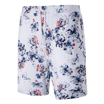 Drawstring Tiny Floral Print Linen Blends Board Shorts