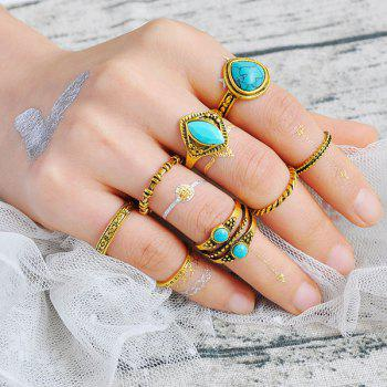 Faux Turquoise Teardrop Gypsy Ring Set
