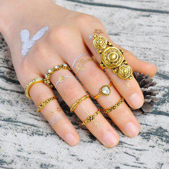 Rhinestoned Teardrop Gypsy Ring Set