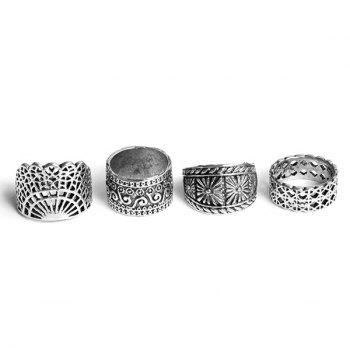 Wide Flower Gypsy Ring Set -  SILVER