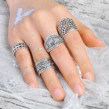 Wide Flower Gypsy Ring Set - SILVER SILVER