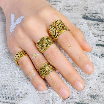 Wide Flower Gypsy Ring Set