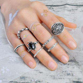 Rhinestone Engraved Gypsy Ring Set - SILVER SILVER